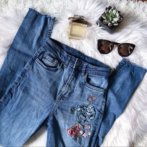 High Waist Embroidered Denim Skinny Jeans